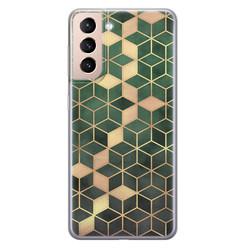 Samsung Galaxy S21 siliconen hoesje - Green cubes