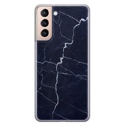 Leuke Telefoonhoesjes Samsung Galaxy S21 siliconen hoesje - Marmer navy blauw