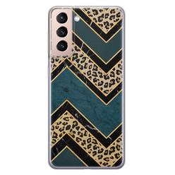 Leuke Telefoonhoesjes Samsung Galaxy S21 siliconen hoesje - Luipaard zigzag