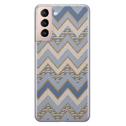 Leuke Telefoonhoesjes Samsung Galaxy S21 siliconen hoesje - Retro zigzag