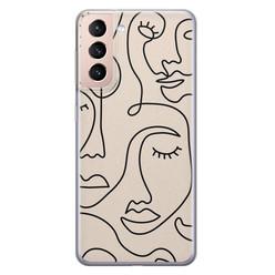 Leuke Telefoonhoesjes Samsung Galaxy S21 siliconen hoesje - Abstract gezicht lijnen