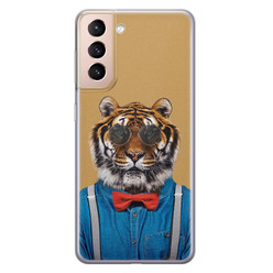 Samsung Galaxy S21 siliconen hoesje - Tijger hipster