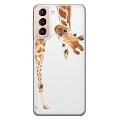 Samsung Galaxy S21 siliconen hoesje - Giraffe peekaboo