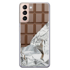 Leuke Telefoonhoesjes Samsung Galaxy S21 siliconen hoesje - Chocoladereep