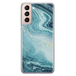 Samsung Galaxy S21 Plus siliconen hoesje - Marmer blauw
