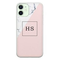 iPhone 12 siliconen hoesje ontwerpen - Marmer roze grijs