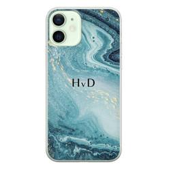 iPhone 12 siliconen hoesje ontwerpen - Marmer blauw