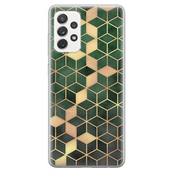 Samsung Galaxy A52 siliconen hoesje - Green cubes