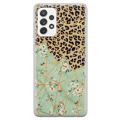 Samsung Galaxy A52 siliconen hoesje - Luipaard flower print
