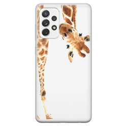 Samsung Galaxy A52 siliconen hoesje - Giraffe peekaboo