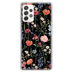 Samsung Galaxy A52 siliconen hoesje - Dark flowers