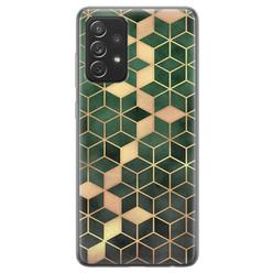 Samsung Galaxy A72 siliconen hoesje - Green cubes