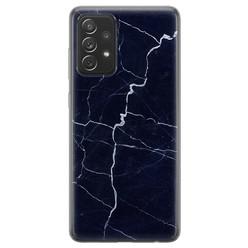 Samsung Galaxy A72 siliconen hoesje - Marmer navy blauw