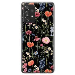 Samsung Galaxy A72 siliconen hoesje - Dark flowers