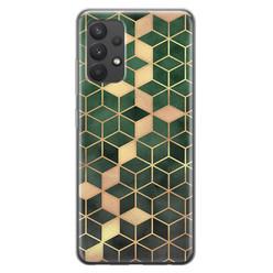 Leuke Telefoonhoesjes Samsung Galaxy A32 4G siliconen hoesje - Green cubes
