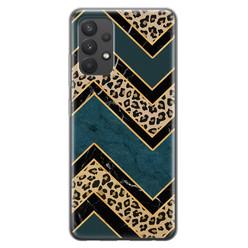 Leuke Telefoonhoesjes Samsung Galaxy A32 4G siliconen hoesje - Luipaard zigzag