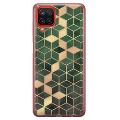 Leuke Telefoonhoesjes Samsung Galaxy A12 siliconen hoesje - Green cubes