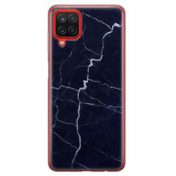 Leuke Telefoonhoesjes Samsung Galaxy A12 siliconen hoesje - Marmer navy blauw