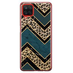 Leuke Telefoonhoesjes Samsung Galaxy A12 siliconen hoesje - Luipaard zigzag