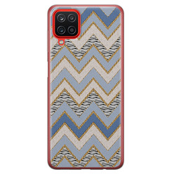 Leuke Telefoonhoesjes Samsung Galaxy A12 siliconen hoesje - Retro zigzag