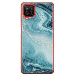 Samsung Galaxy A12 siliconen hoesje - Marmer blauw