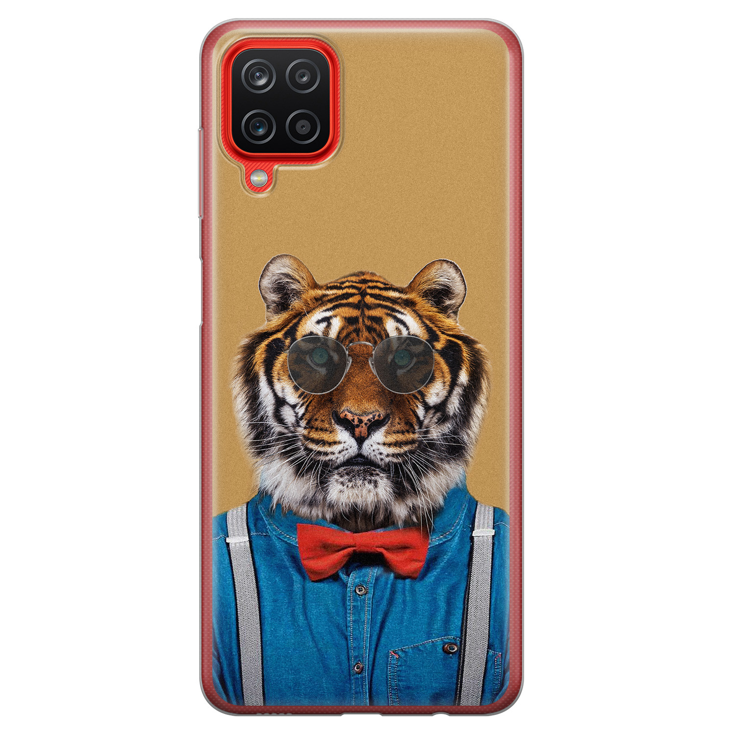 Samsung Galaxy A12 siliconen hoesje - Tijger hipster