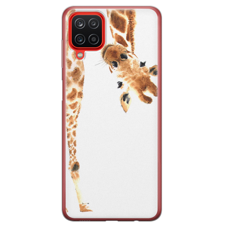 Samsung Galaxy A12 siliconen hoesje - Giraffe peekaboo