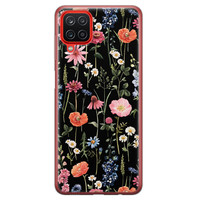Samsung Galaxy A12 siliconen hoesje - Dark flowers