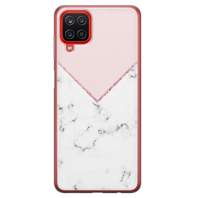 Samsung Galaxy A12 siliconen hoesje - Marmer roze grijs