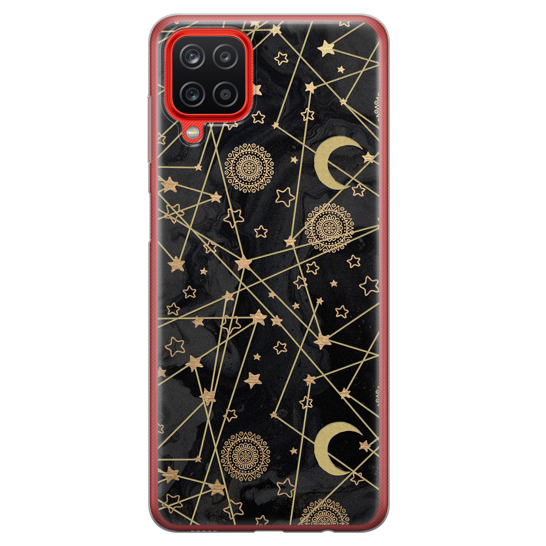 Samsung Galaxy A12 siliconen hoesje - Sun, moon, stars