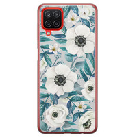 Samsung Galaxy A12 siliconen hoesje - Witte bloemen