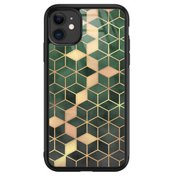 Leuke Telefoonhoesjes iPhone 11 glazen hardcase - Green cubes