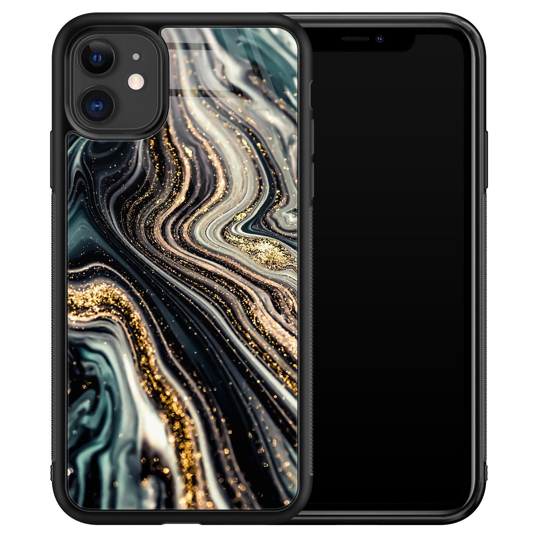 iPhone 11 glazen hardcase - Marmer swirl