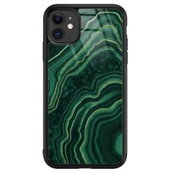 Leuke Telefoonhoesjes iPhone 11 glazen hardcase - Groen agate