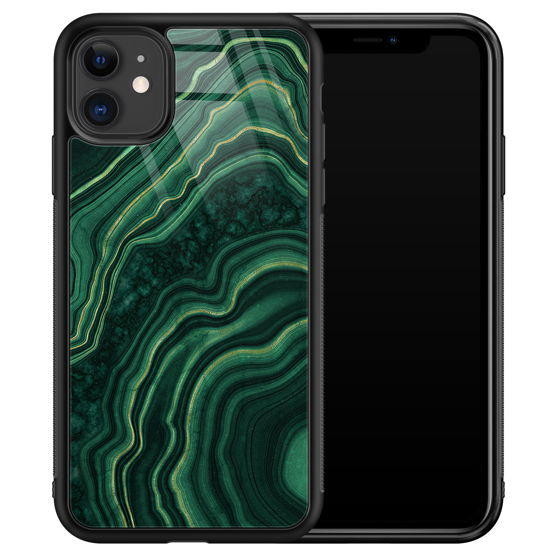 iPhone 11 glazen hardcase - Groen agate