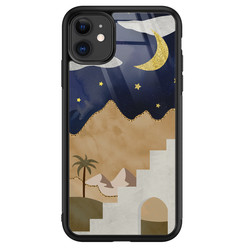 Leuke Telefoonhoesjes iPhone 11 glazen hardcase - Desert night