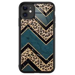 Leuke Telefoonhoesjes iPhone 11 glazen hardcase - Luipaard zigzag