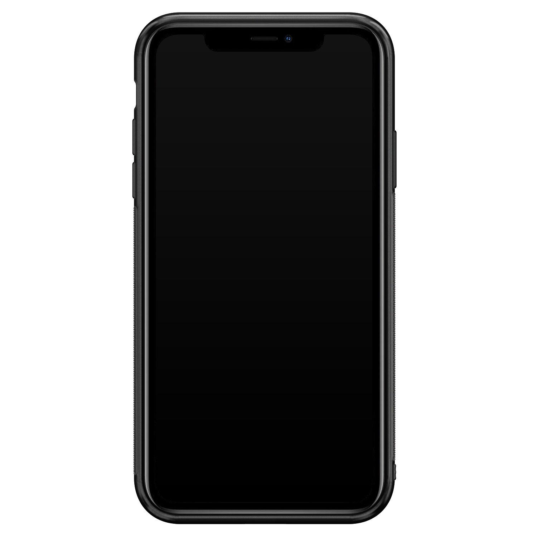 iPhone 11 glazen hardcase - Luipaard zigzag