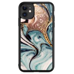 Leuke Telefoonhoesjes iPhone 11 glazen hardcase - Marmer blauw goud
