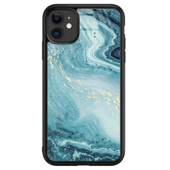 Leuke Telefoonhoesjes iPhone 11 glazen hardcase - Marmer blauw