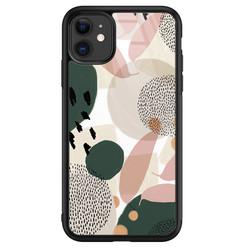 Leuke Telefoonhoesjes iPhone 11 glazen hardcase - Abstract print