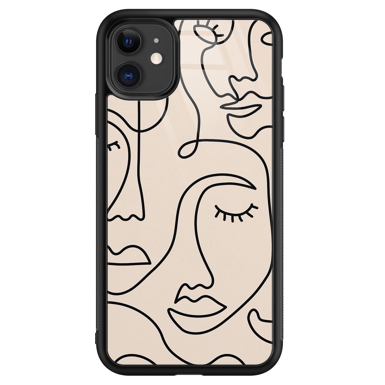 Leuke Telefoonhoesjes iPhone 11 glazen hardcase - Abstract gezicht lijnen