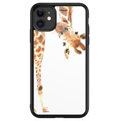 iPhone 11 glazen hardcase - Giraffe peekaboo