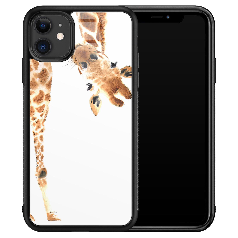 Leuke Telefoonhoesjes iPhone 11 glazen hardcase - Giraffe peekaboo