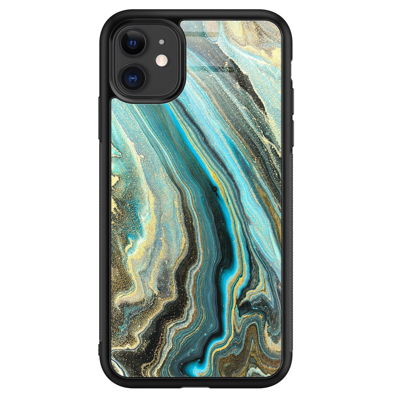 iPhone 11 glazen hardcase - Marmer mint