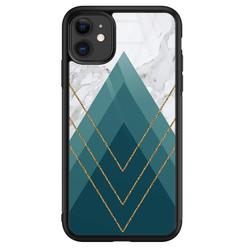 Leuke Telefoonhoesjes iPhone 11 glazen hardcase - Geometrisch blauw