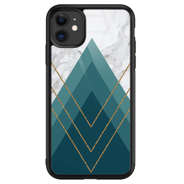 iPhone 11 glazen hardcase - Geometrisch blauw