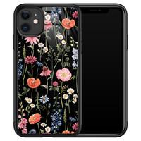 iPhone 11 glazen hardcase - Dark flowers