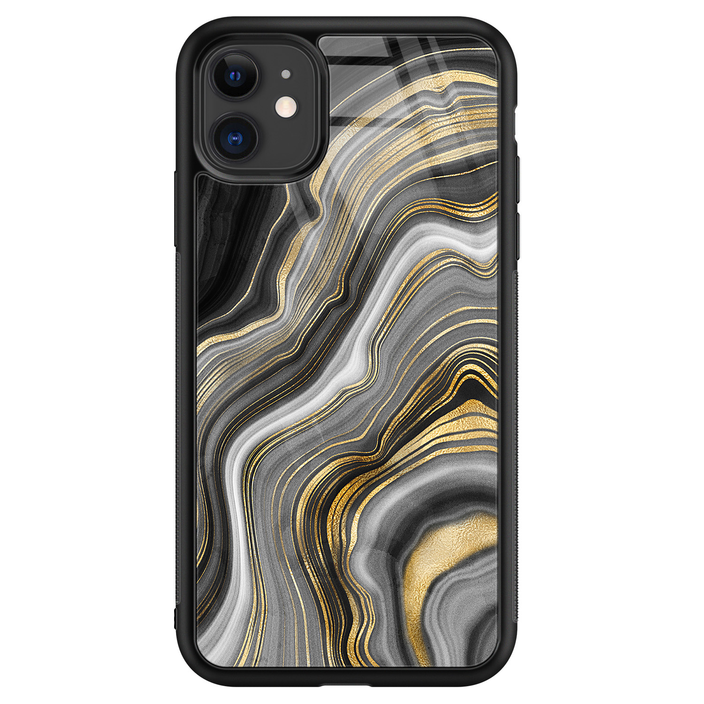 iPhone 11 glazen hardcase - Golden agate