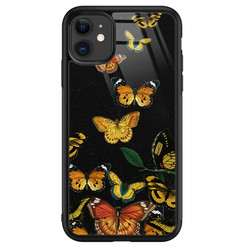 iPhone 11 glazen hardcase - Vlinders